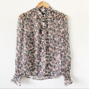 Rag & Bone Sheer Floral Long Sleeve Blouse size XS